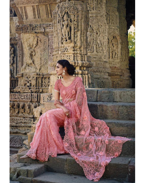 Pink Designer Net Party Saree