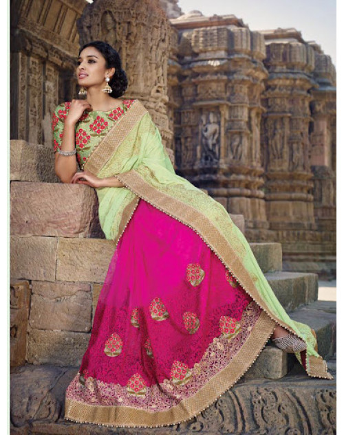 Pink And SeaGreen Designer Net Party Saree