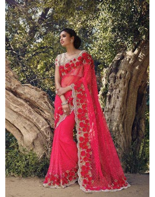 Red Designer Net Party Saree