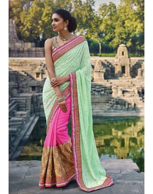 Pink And SeaGreen Designer Silk Party Saree