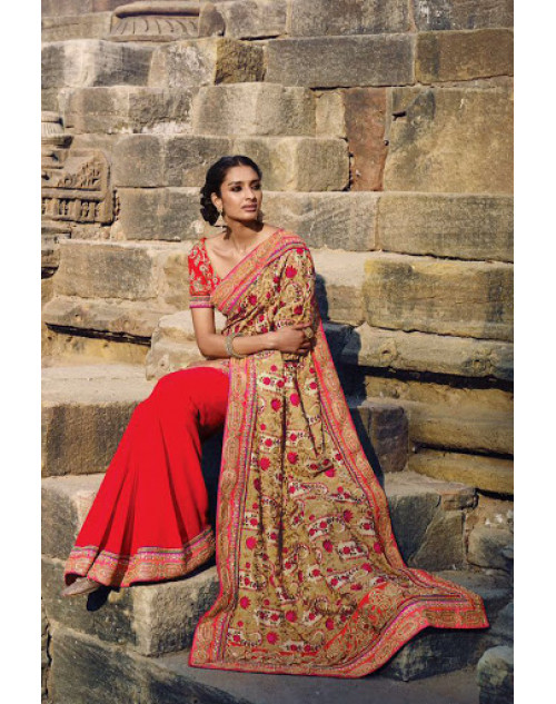 Tomato Designer Georgette Party Saree