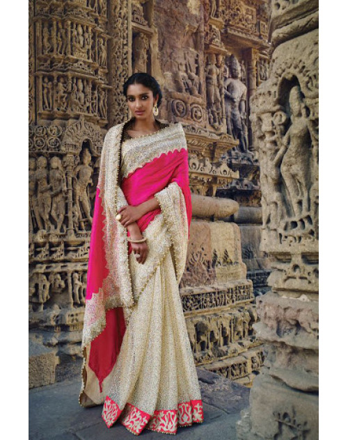 Off-White And Pink Designer Silk Party Saree