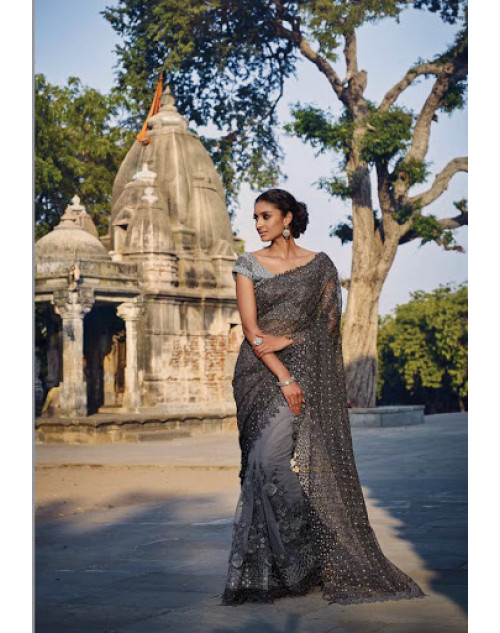 Grey Designer Net Party Saree