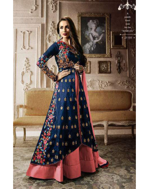 Malaika Arora Khan Tapeta Blue Floor Length Dress Materials