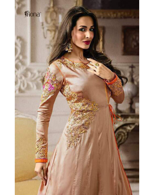Malaika Arora Khan Georgette Beige Floor Length Dress Materials