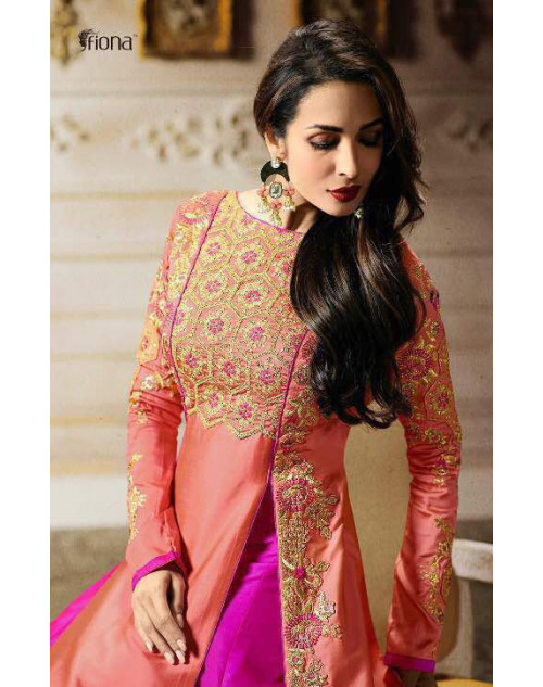 Malaika Arora Khan Tapeta Pink Floor Length Dress Materials