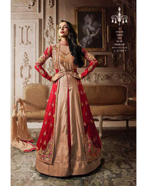 Malaika Arora Khan Tapeta Red Floor Length Dress Materials