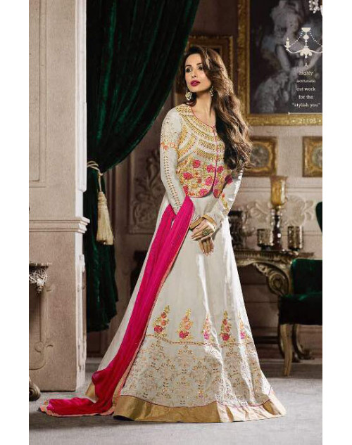 Malaika Arora Khan Tapeta White Floor Length Dress Materials