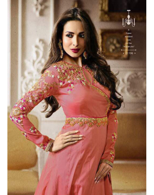 Malaika Arora Khan Tapeta DeepPink Floor Length Dress Materials