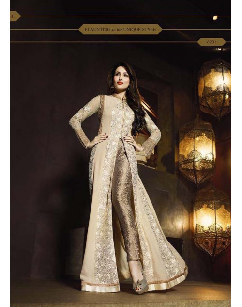 Malaika Arora Khan Cream and Golden Pure Georgette Chiffon Floor Length Dress Materials