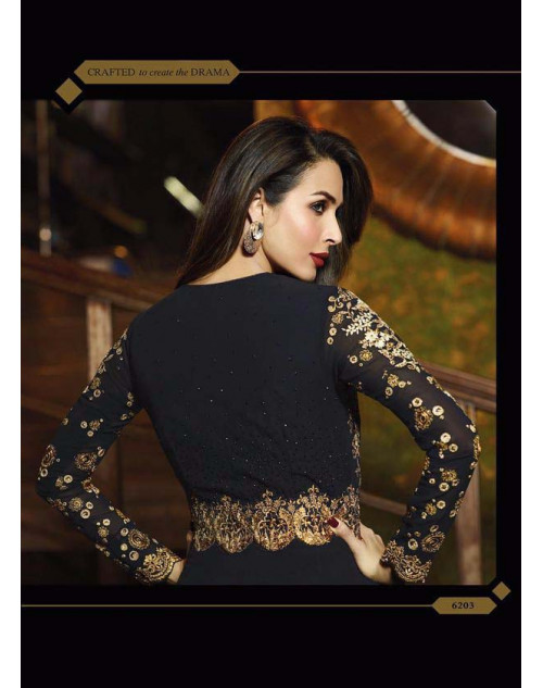 Malaika Arora Khan Black Pure Georgette Chiffon Floor Length Dress Materials