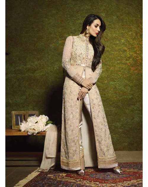 Malaika Arora Khan Beige Pure Georgette Chiffon Floor Length Dress Materials