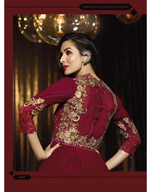 Malaika Arora Khan Maroon Pure Georgette Chiffon Floor Length Dress Materials