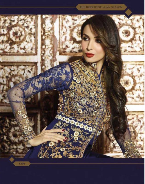 Malaika Arora Khan Navy Blue Pure Georgette Chiffon Floor Length Dress Materials