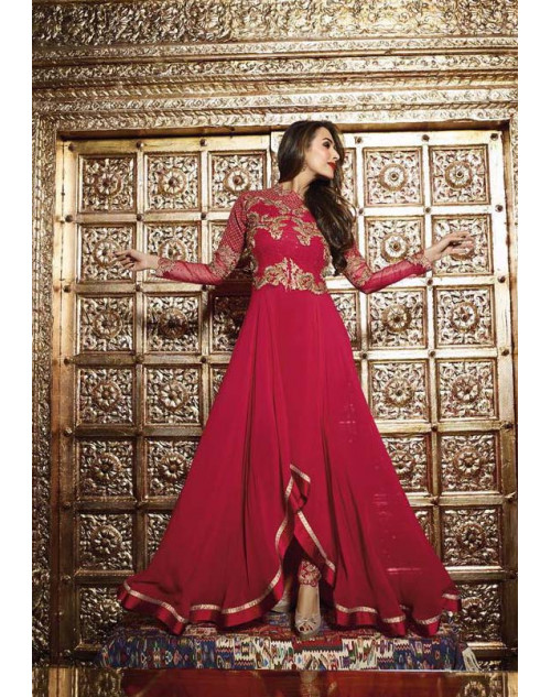 Malaika Arora Khan Red Pure Georgette Chiffon Floor Length Dress Materials