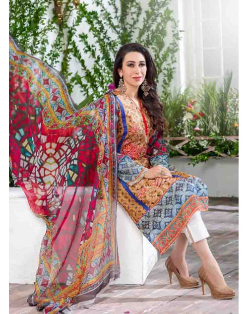 Karishma Kapoor Blue and Orange Pakistani Style Suit