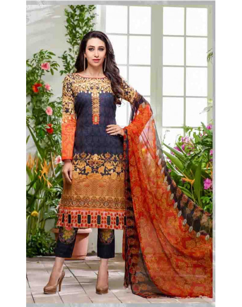 Karishma Kapoor Orange and Grey Pakistani Style Suit
