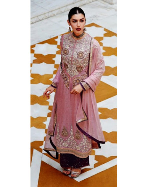 Light Pink Kimora Fashion Banarasi Silk Salwar Kamiz