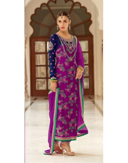 Purple Kimora Fashion Vichitra Georgette Salwar Kamiz