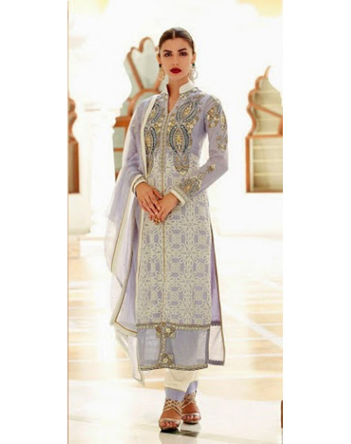 Light Grey Kimora Fashion Vichitra Georgette Salwar Kamiz