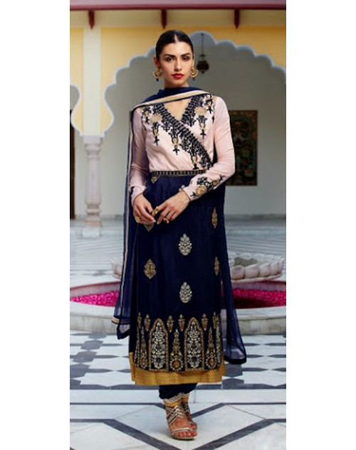 Off White And Blue Kimora Fashion Vichitra Georgette Salwar Kamiz