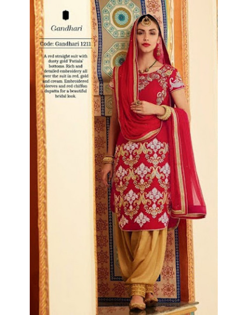 Red Kimora Fashion Silk Velvet Salwar Kamiz