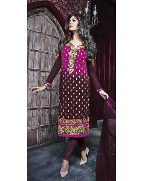 Sushmita Sen Pink and Brown Georgette Designer Suit
