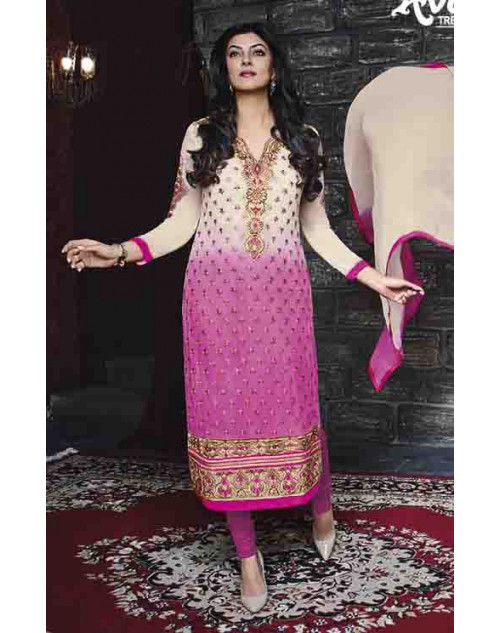 Sushmita Sen Off-white and Pink Georgette Designer Suit