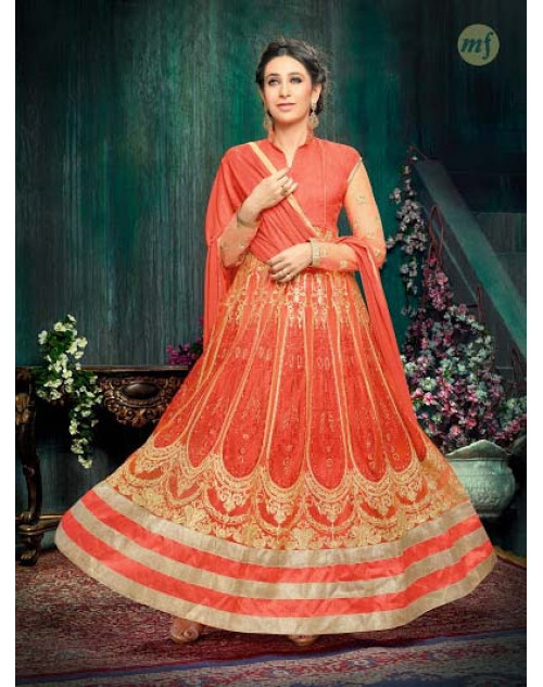 Karishma Kapoor Orange Georgette And Net Salwar Kameez