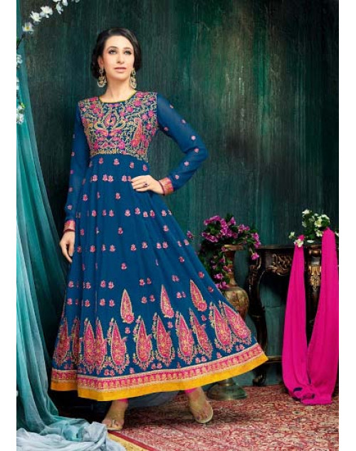 Karishma Kapoor Blue Georgette And Net Salwar Kameez
