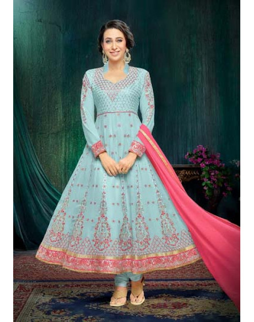 Karishma Kapoor SkyBlue Georgette And Net Salwar Kameez