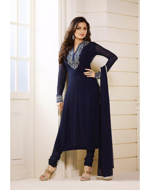 Madhubala as Drashti Dhami Designer Blue Georgette Dress Materials