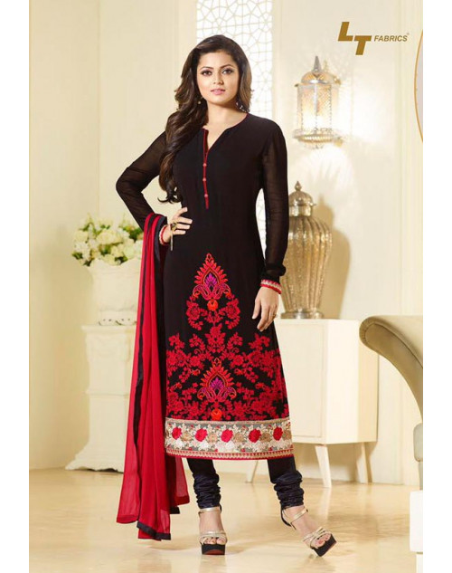 Madhubala as Drashti Dhami Designer Georgette Black Dress Materials