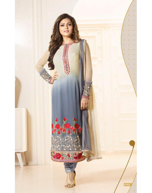 Madhubala as Drashti Dhami Designer Cream and LightGrey Georgette Dress Materials