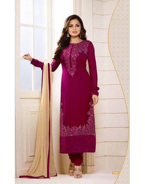 Madhubala as Drashti Dhami Designer Violet Georgette Dress Materials
