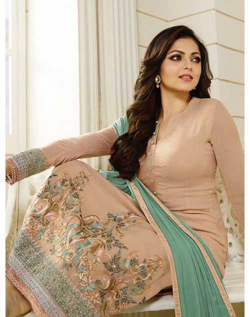 Madhubala as Drashti Dhami Designer Cornsilk Georgette Dress Materials
