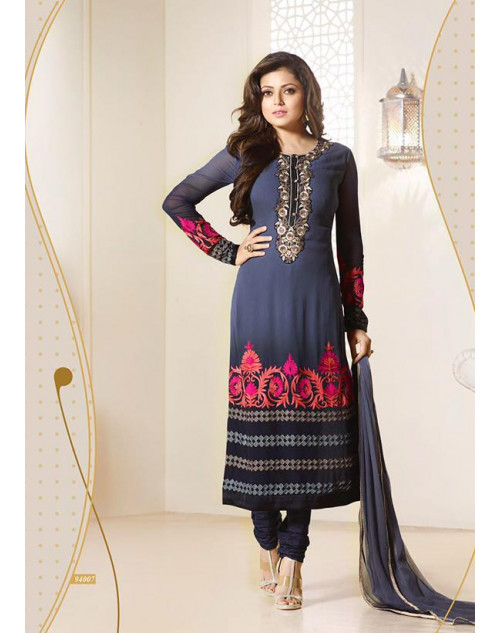 Madhubala as Drashti Dhami Designer NavyBlue Georgette Dress Materials