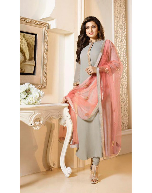 Madhubala as Drashti Dhami Designer LightGrey Georgette Dress Materials