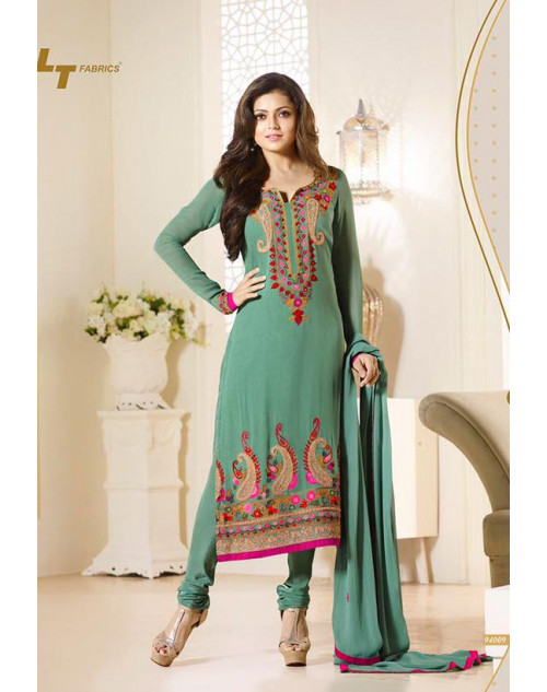 Madhubala as Drashti Dhami Designer SeaGreen Georgette Dress Materials