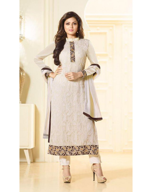 Madhubala as Drashti Dhami Designer Off-White Pure Chiffon Dress Materials