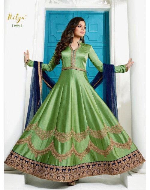 Madhubala as Drashti Dhami LightGreen Satin Silk with Fusing Salwar Kameez