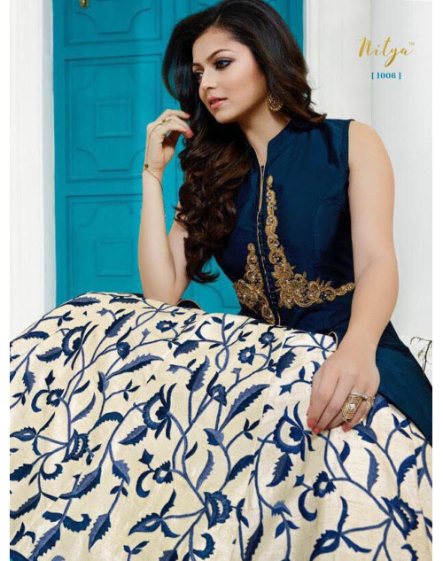 Madhubala as Drashti Dhami Blue Tapeta Silk with Fusing Salwar Kameez
