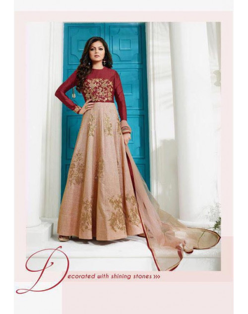 Madhubala as Drashti Dhami FireBrick And Moccasin Australian Silk with Fusing Salwar Kameez