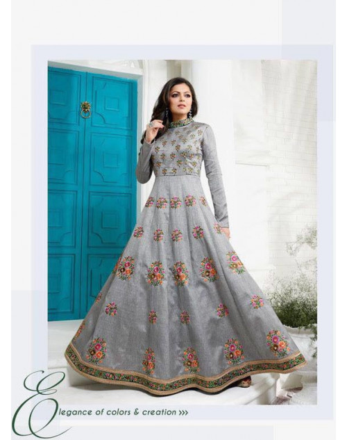 Madhubala as Drashti Dhami Grey Australian Silk with Fusing Salwar Kameez