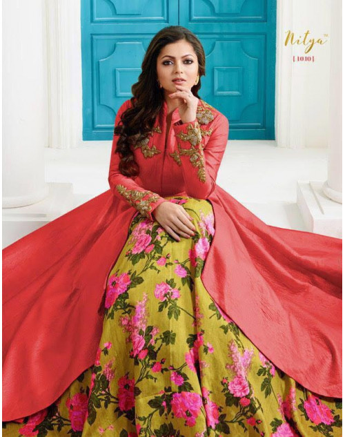 Madhubala as Drashti Dhami Red Tapeta Silk with Fusing Salwar Kameez