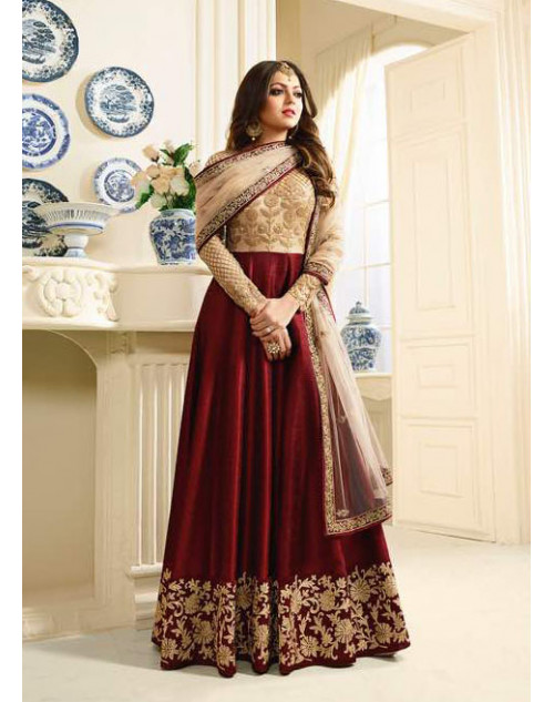 Madhubala as Drashti Dhami Designer Beige And Maroon Net And Turky Silk Salwar Kameez