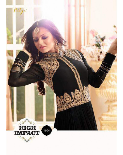 Drashti Dhami as Madhubala Latest Black Pure Viscose Georgette Salwar Kameez
