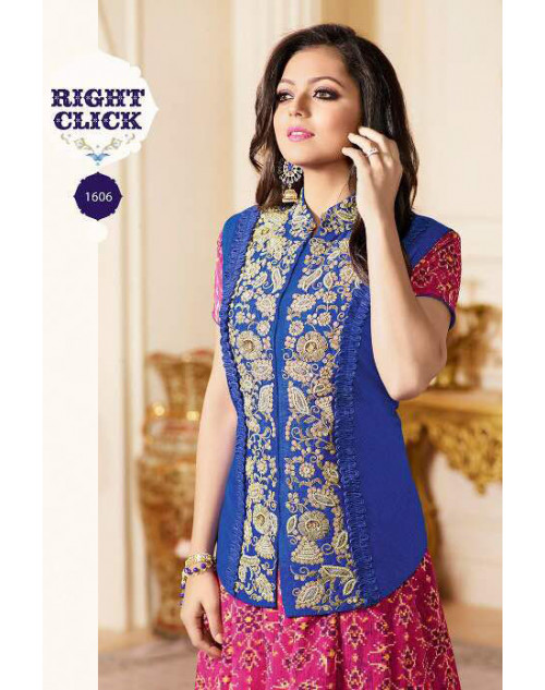 Drashti Dhami as Madhubala Latest Blue And Fuchsia French Print Jacket Banglori Silk Salwar Kameez