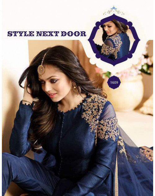 Drashti Dhami as Madhubala Latest Navy Banglori Silk Salwar Kameez