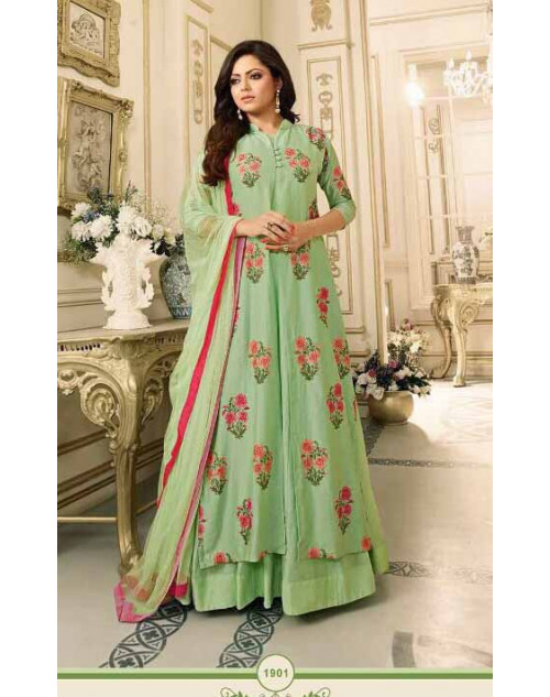 Drashti Dhami as Madhubala Stylish LightGreen Pure Chanderi Salwar Kameez